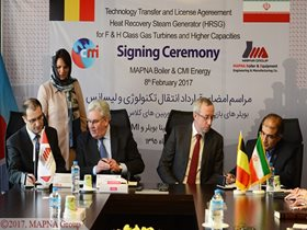 TECHNOLOGY TRANSFER AGREEMENT SIGNED BETWEEN MAPNA BOILER, CMI